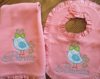 Bib and Burp Cloth Set, Personalized Bib and Burp cloth with Bird