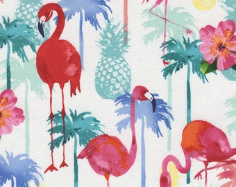 Flamingos and Pineapples Fabric; You Choose Size; C4749 Timeless Treasures; Novelty Fabric; Tropical Fabric; Palm Trees, Hibiscus