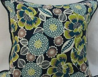 Navy blue pillow. navy green pillow. navy floral pillow. 20x20 pillow cover. blue green pillow. blue pillow cover.