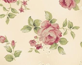 Large Floral - Cream/Rose by Maywood Studio (8360-ER) Cotton Fabric Yardage