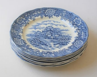 Vintage English Village blue and white ironstone salad plates, 6 plates, Salem China Company Olde Staffordshire, cottage dishware