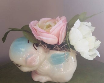 Small Faux Flower Arrangement, Vintage Baby Bird Planter, Purple Flowers, Peony, Silk Arrangement, Small Flowers, Baby Decoration, Baby Gift