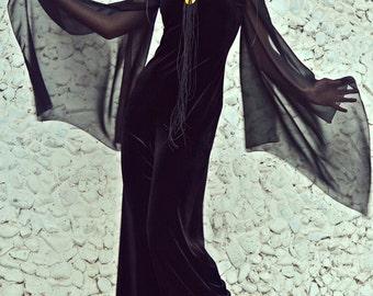 Black Velvet Jumpsuit / Extravagant Velvet Jumpsuit / Funky Loose Jumpsuit / Velvet Jumpsuit with Chiffon Sleeves TJ26