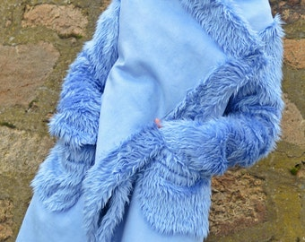 Light Blue Faux Sheepskin Coat / Extravagant Light Blue Coat / Asymmetrical Winter Coat / Light Blue Sheepskin Winter Coat TC78