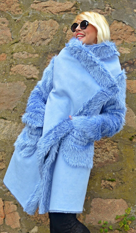 Light Blue Faux Sheepskin Coat / Extravagant Light Blue Coat /