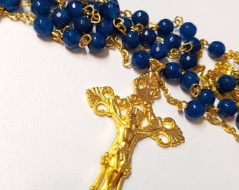 Deep Blue Agate Rosary With Gold Plated Cross