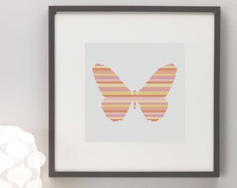 Butterfly Sunset Lines Silhouette Cross Stitch Pattern