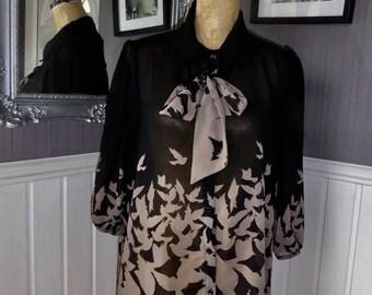 Loose Sheer Blouse, Black & Taupe Sheer Blouse With Bird Design
