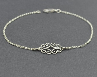 Sterling Silver Filigree Bracelet, Silver Chain bracelet, Charm Bracelet