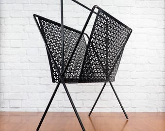 Mid Century Modern Perforated Metal Magazine Rack Black