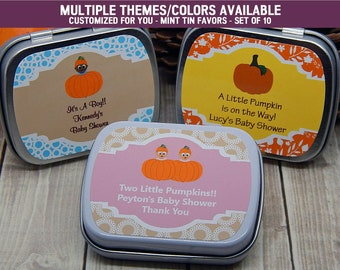 Little Pumpkin Baby Shower Favors - Pumpkin Baby Shower - Pumpkin 1st Birthday - Pumpkin Party Favors - Mint Tins Favors - Set of 10