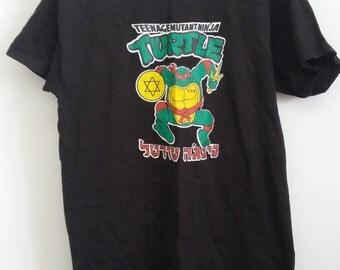 Vintage 90's Teenage Mutant Ninja Turtles Tshirt Bootleg Hebrew TMNT 1990 Cowabunga! Tee Shirt RARE