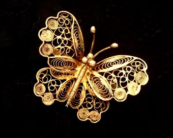 Antique jewelry Art Nouveau brooch pin filigree cannetille lace butterfly 1920's spun silver