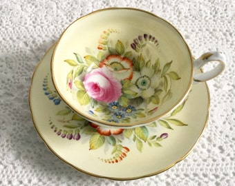 Hand Painted Artist Signed Grosvenor Tea Cup & Saucer
