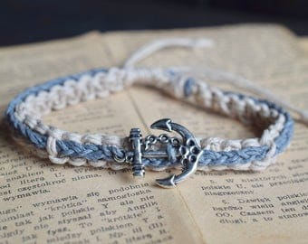 Anchor Braided Bracelet. Custom Colours. Hemp Bracelet. Anklet. Hippie. Boho Jewelry. Natural Jewelry. Eco-Friendly.
