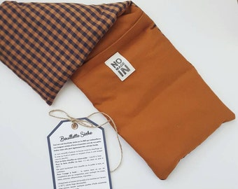 Dry hot water bottle to the organic flax seeds - hot or cold compress - fabric orange caramel camel Plaid cotton