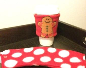 Gingerbread Man Red  Reversible Cup Sleeve/ Reversible Coffee Cup Sleeve/ Reversible Cup Cozy/ Coffee Jacket/ Drink Sleeve/ To Go Sleeve