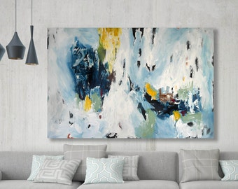 LARGE ABSTRACT Painting Free Shipping Large Wall Art Original Painting Blue White 150 CM Large Canvas Blue Texture Palette Knife Pastel Art