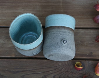 Set of two coffee mugs, pottery coffee mugs, turquoise mugs, blue mug, rustic coffee mug set, ceramic tea mug, ceramic tea cup, heart mug