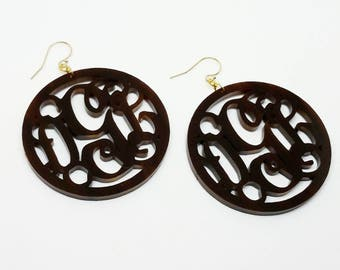 "Large 2"" Tiger Lily Acrylic Monogram Earrings"