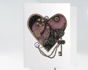 I Love You Card, Hand Drawn Heart Card, Wedding Card, Steampunk Greeting Card, Anniversary Card, Hand Drawn Card, Steampunk Wall Art 1021A