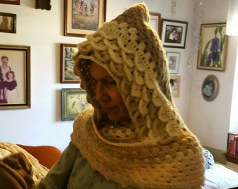 Pixie hooded scarf, dragon scale scoodie, hooded scarf, handmade hooded scarf, extra long hooded scarf, crocodile stitch scoodie
