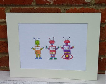 Robots, Nursery art, children's art, nursery decor, new baby gift