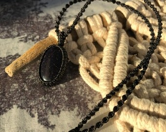 Purple Goldstone Pendant / Purple Macrame Necklace