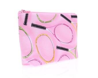 tennis makeup zipper bag pink, tennis gift, cosmetic zipper pouch, wash bag, makeup case, toiletry case, tennis team captain girlfriend gift