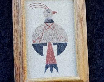 Authentic; small Navajo Sand Painting; Wood Frame; Approx. 5 x 7 inches; Traditional Motiff !!!