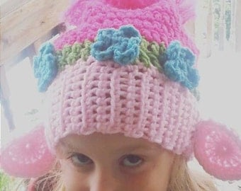 Crochet Pattern For Troll Hat : Girls winter hat Etsy