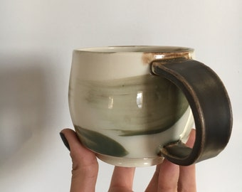 green porcelain mug