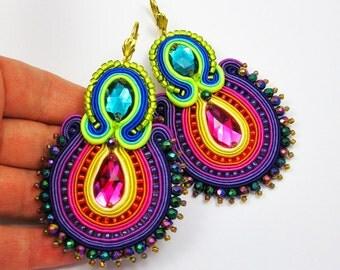 Soutache Earrings,Big folk earrings  ,soutache jewelry in ethnic, 100% handmade,