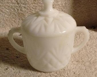 Milk glass  sugar bowl , two handles cut glass sugar bowl with lid