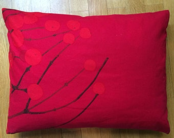"Red Lumimarja pillow case from Marimekko, Finnish designer cotton fabric, 12x16"" red berries, Finland"