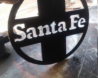 Santa Fe railroad sign.