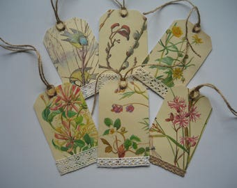 Six gift tags made from a very tatty copy of The Country Diary of an Edwardian Lady book dated 1906