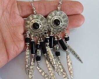 Vintage Bohemian Boho Hippy Anti Silver Hookie Drop Dangle 10 cm Earrings