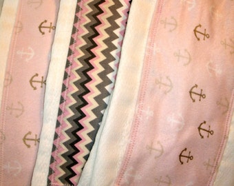 Set of 3 birdseye prefold burp cloths.