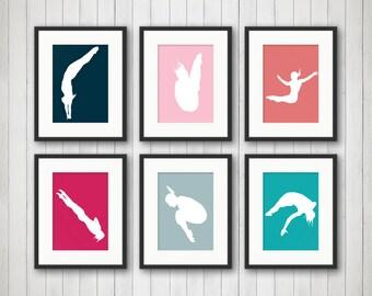 Women Dives Art - Swimming Gifts - Swim Decor - Dive Wall Art - Sports Decor - Sports Nursery Decor - Boys Sports Room Decor - Sports Art