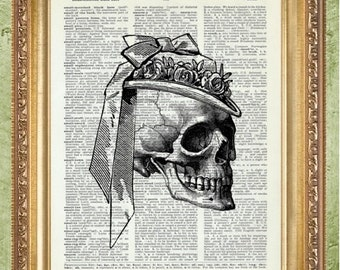 Skull With Hat Dictionary Art Anatomy Art Print Skull Print Doctor Print  Bones Steampunk Wall Decor Part 88