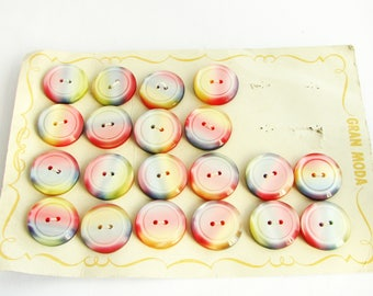 20 rainbow buttons, vintage sewing buttons in rainbow colours, 23 mm, unused!!