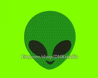 Alien Face Embroidery Design - 6 Sizes - INSTANT DOWNLOAD