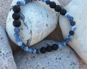 Men's Black Onyx  Mala Bracelet