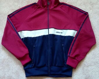 1970s Adidas Track Jacket, Trefoil track top Run DMC, full zip Jogging jacket size men's XL Navy Blue red white striped stripes track suit