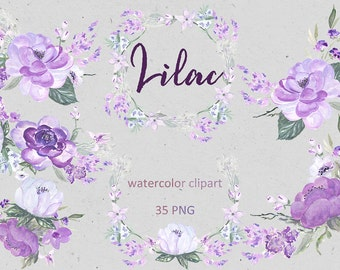 Soft lilac palette Digital clip art. Arrangements, wreath and branches. wedding invitations. Peonies & magnolia
