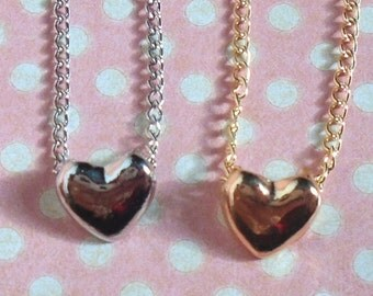 Pretty petite heart necklace in gold or silver