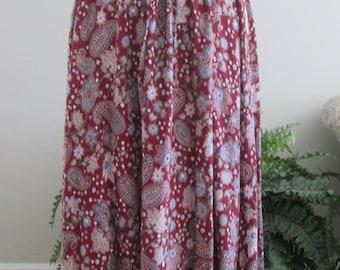 1970's Paisley India Print Skirt/Boho/Hippie/Gypsy Skirt/Drawstring Waist S/M/L   #17071