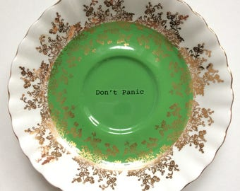 Don't Panic: upcycled, altered, repurposed decorative vintage Royal Albert plate with bright green and gold