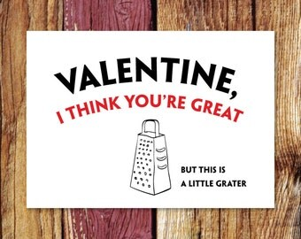 Funny Pun Valentineu0027s Day Card | A Little Grater Valentine | Printable  Digital Download | 5x7